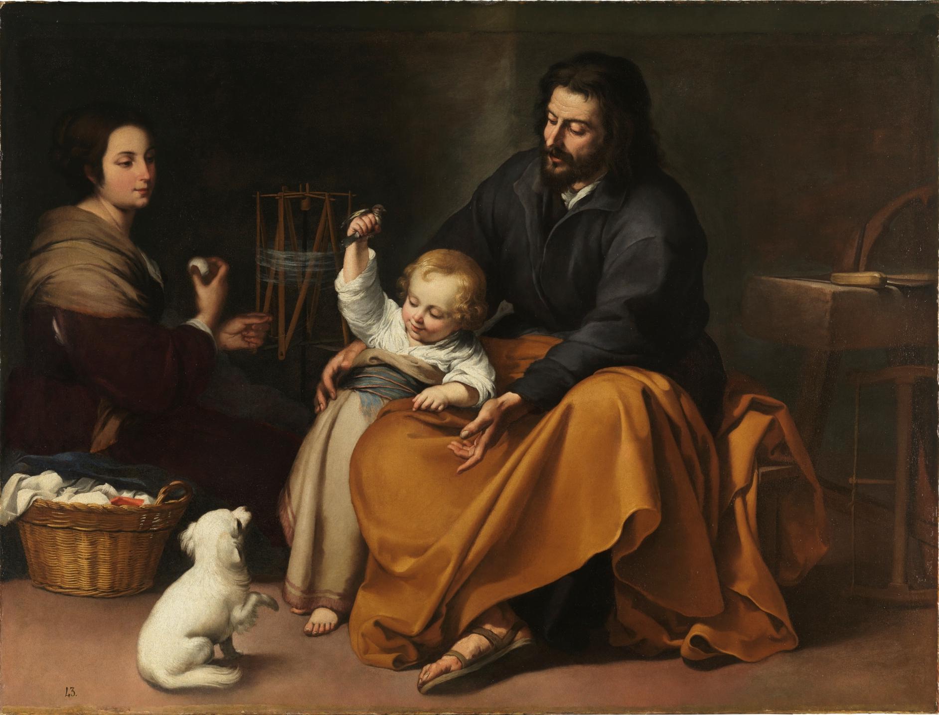 Holy Family with Bird, by Bartolomé Esteban Murillo, c. 1650. Museo del Prado, Madrid, Spain. Via IllustratedPrayer.com
