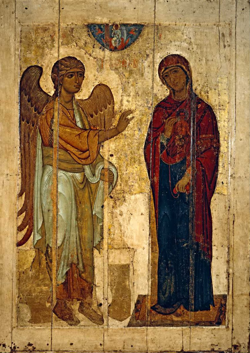 Ustyug Annuncation, c. 1130-40. The State Tretyakov Gallery, Moscow, Russia. Via IllustratedPrayer.com