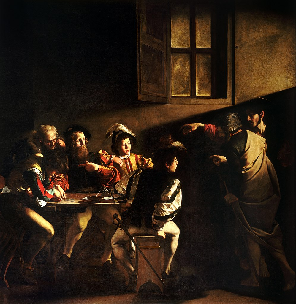 The Calling of St. Matthew, by Caravaggio, c. 1599-1600. Contarelli Chapel, Church of San Luigi dei Francesi, Rome, Italy. Via IllustratedPrayer.com