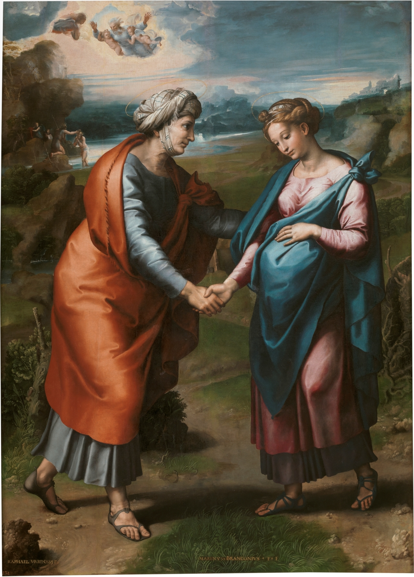 The Visitation, by Raphael and Workshop, c. 1617. Museo del Prado, Madrid, Spain. Via IllustratedPrayer.com