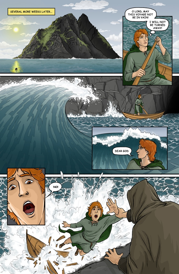 Sample Comic Page of The Last Monks of Skellig Michael, by Michael LaVoy, c. 2017. Copyright to Michael LaVoy.Panel is used from his Kickstarter page to promote his project. Via IllustratedPrayer.com