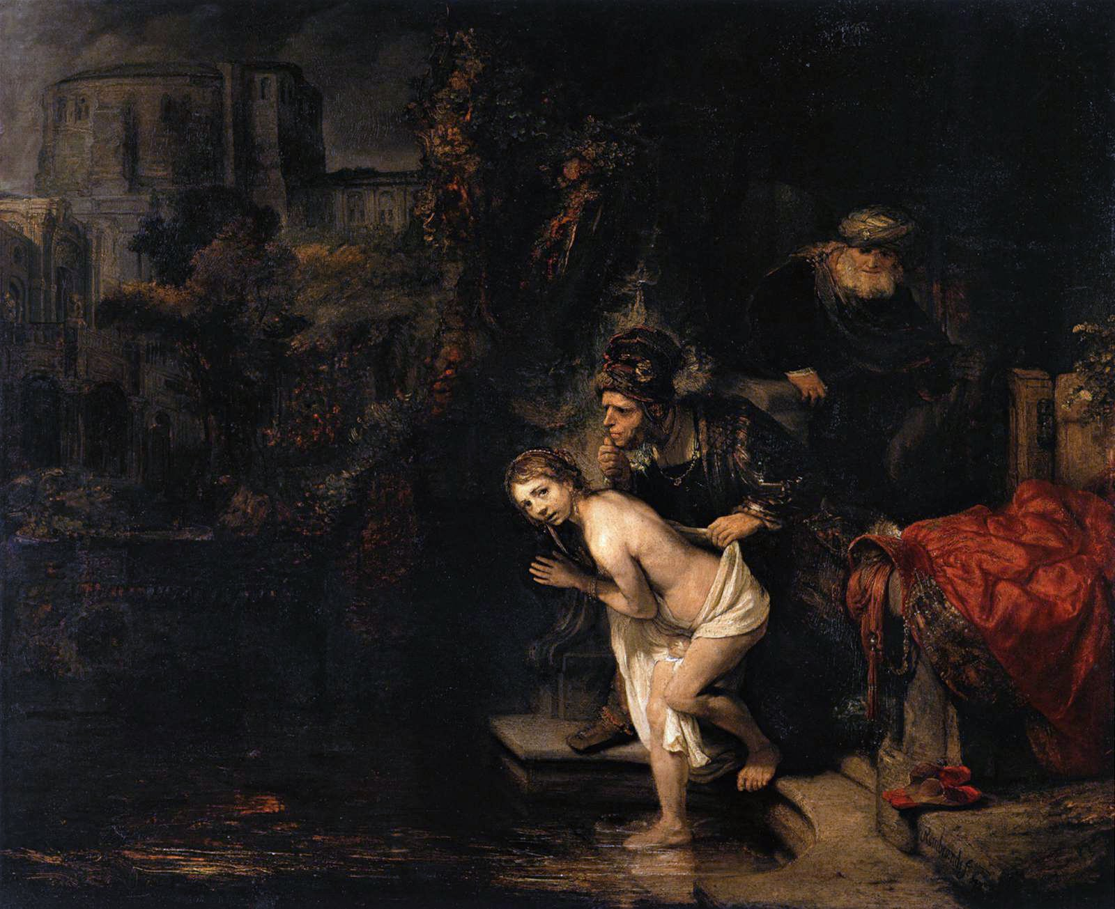 Susanna and the Elders, by Rembrandt, c. 1647. Gemäldegalerie, Berlin, Germany. Via IllustratedPrayer.com