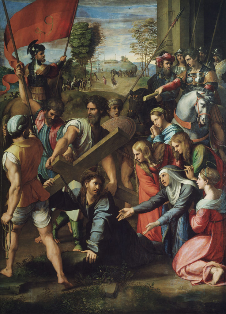 Christ Falling on the Way to Calvary, by Raphael, c. 1514-16. Museo del Prado, Madrid, Spain. Via IllustratedPrayer.com