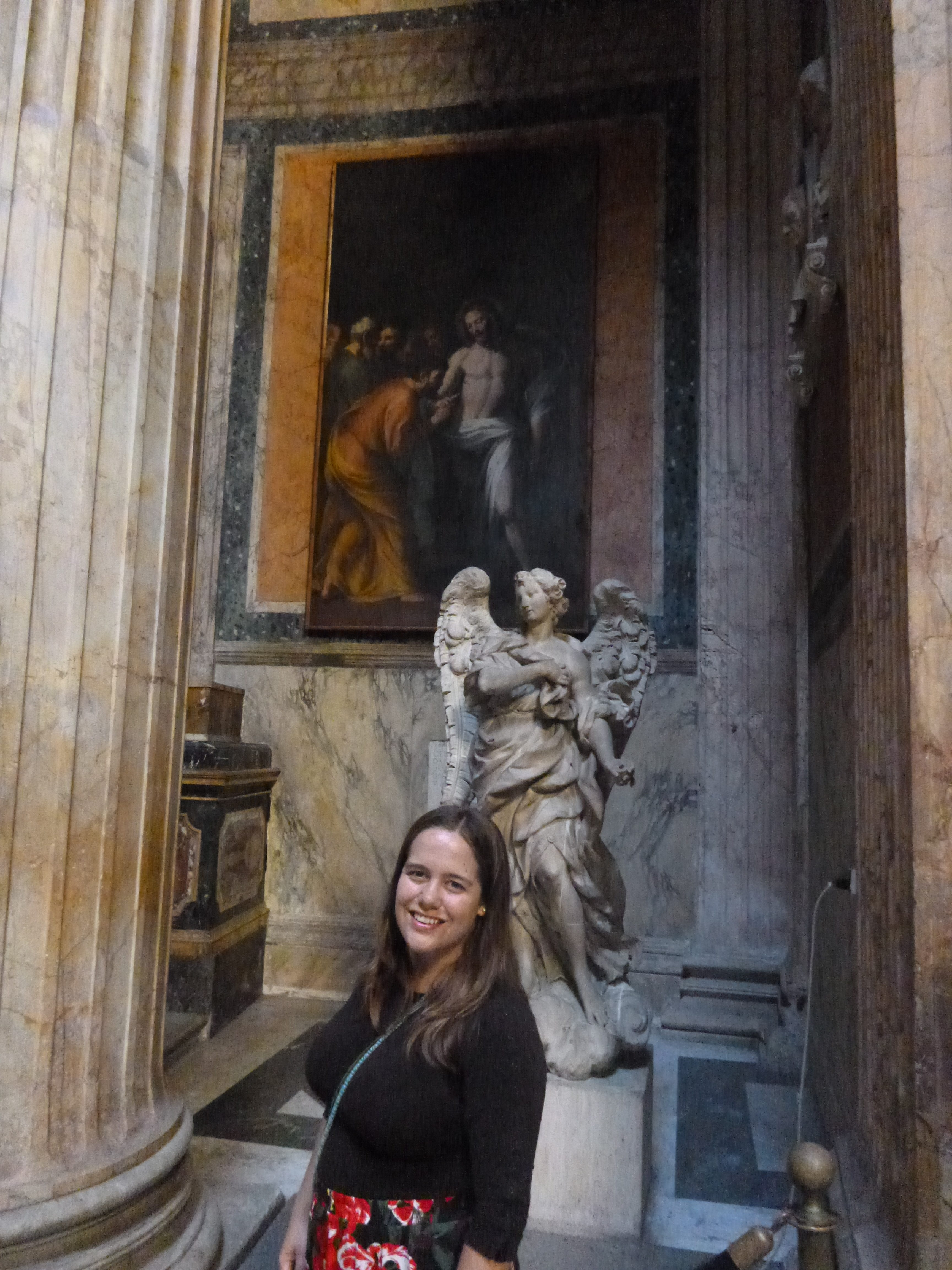 Here's the photograph that my husband took of me near the Doubting Thomas painting! Doubting Thomas, by Pietro Paolo Bonzi, c. 17th century. The Pantheon, Rome, Italy. Via IllustratedPrayer.com