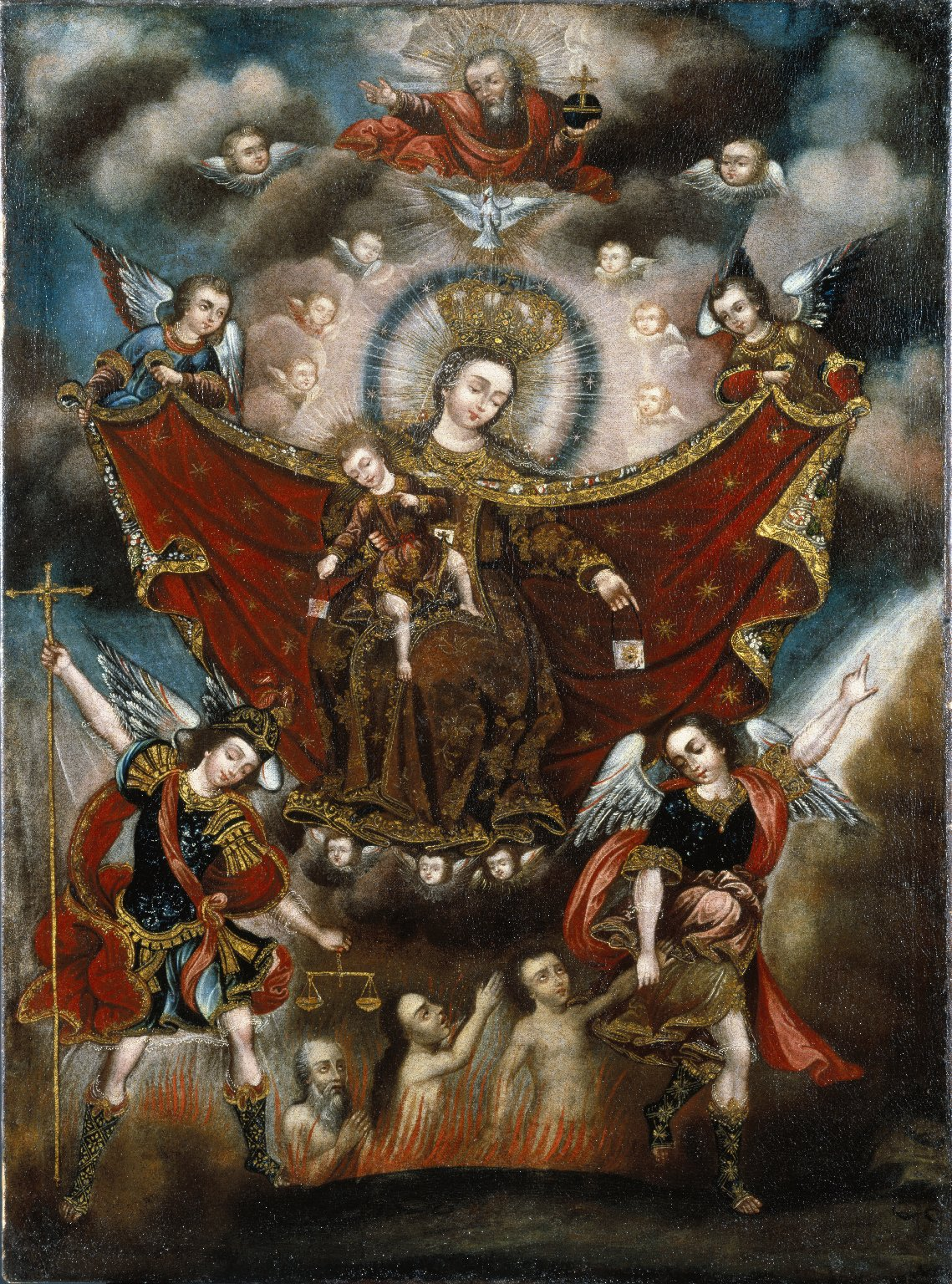 Virgin of Carmel Saving Souls in Purgatory, by Cusco School, c. 17th century. Brooklyn Museum, New York, New York, United States. Via IllustratedPrayer.com