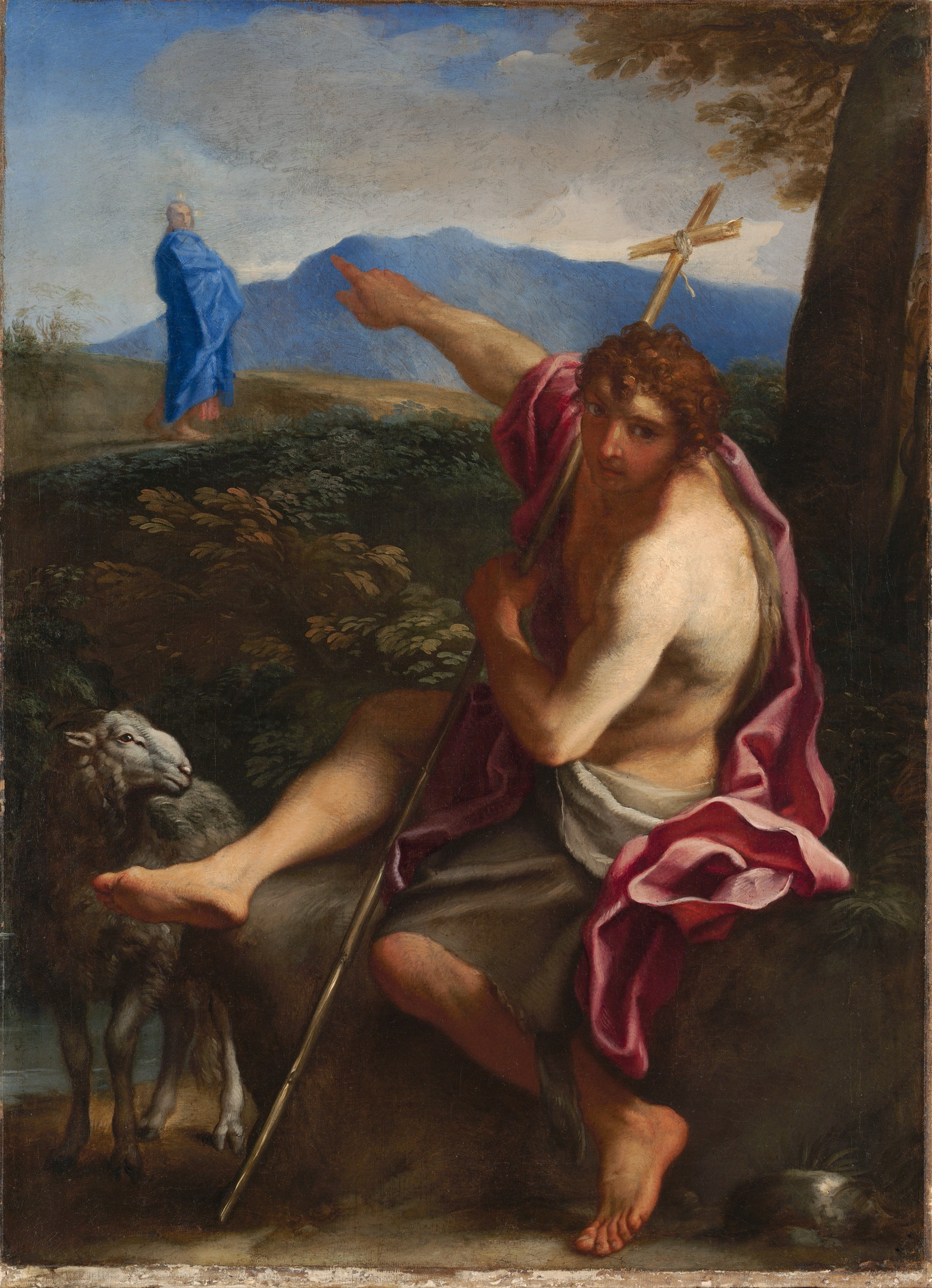 Saint John the Baptist Pointing to Christ in a Landscape, by Carlo Maratti, c. 1656. Fogg Art Museum, Cambridge, Massachusetts, United States. Via IllustratedPrayer.com