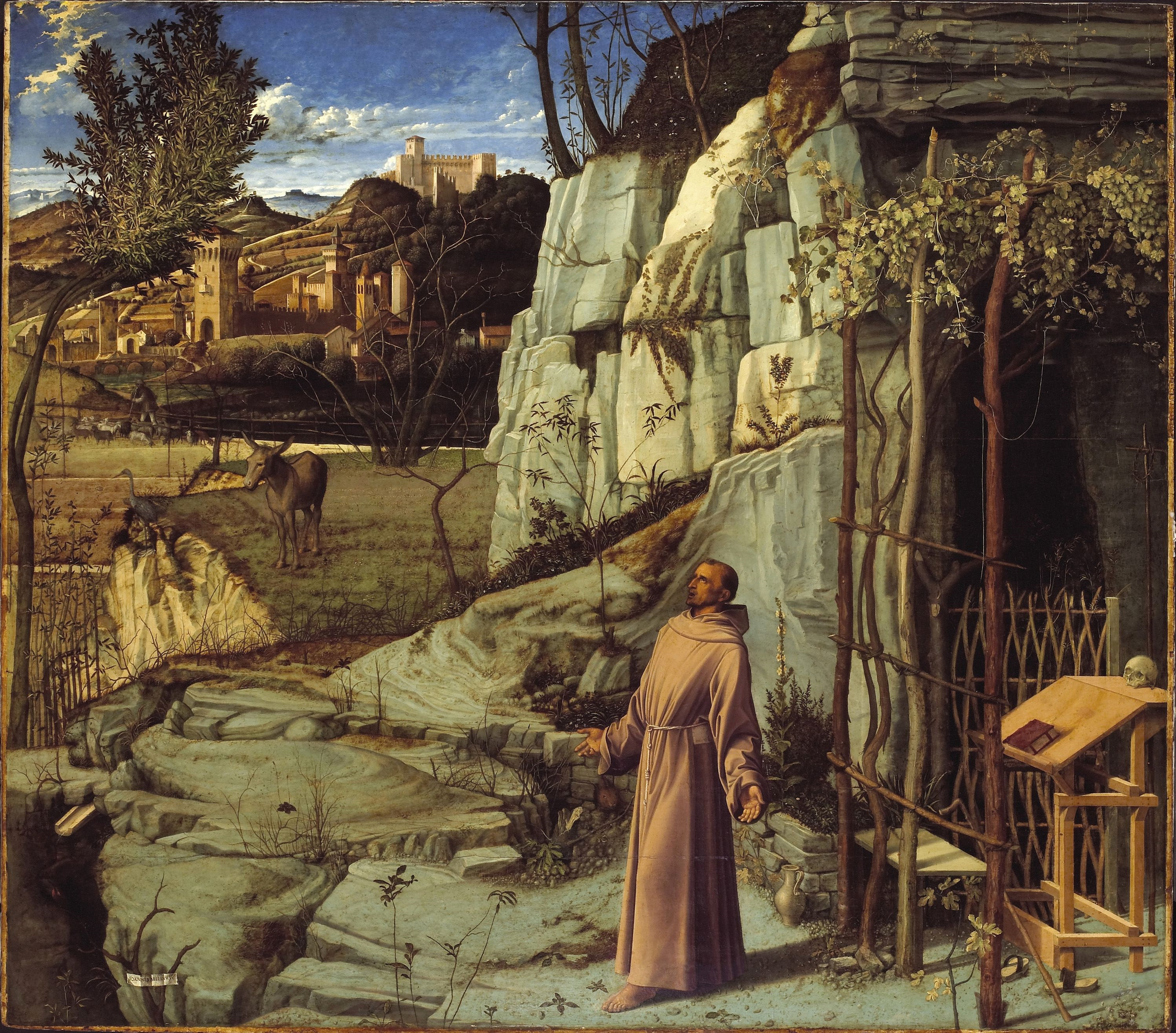 St. Francis in Ecstasy, by Giovanni Bellini, c. 1480. Frick Collection, New York, New York, United States. Via IllustratedPrayer.com